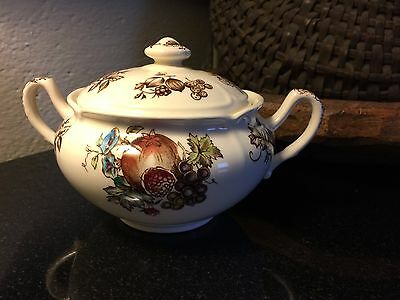 Rare Johnson Brothers Windsor Ware Harvest Fruit Sugar Bowl with Lid