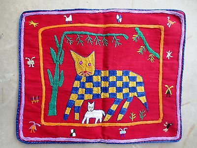 Pillow Sham - Hand Loomed & Embroidered Guatemalan Fabric - Kitty Cat