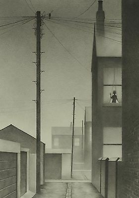 Dave Hartley ORIGINAL Northern Art pencil drawing Grimshaw style Lowry - SIGNED