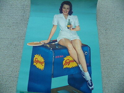 Squirt 1943 Calendar With Tennis Girl On Cooler  Nice!