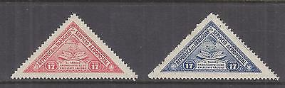 PARAGUAY, 1935 Air, Tobacco Plant, Triangle, Air, 17p. Red & 17p. Blue, lhm.