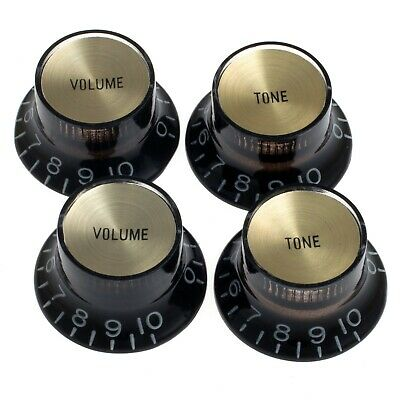 NEW - Set of 4 BLACK Bell Top Hat KNOBS w/ GOLD Reflector for Gibson® USA, CTS®