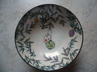 Small Vintage Shelley Xmas Bowl 10.5 Cm Yellow Lustre Outside/decorated Inside