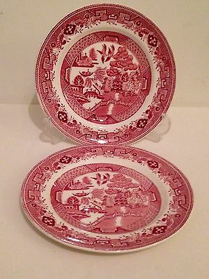 Vintage Fenton Red & White Willow Pattern Side Plates x2