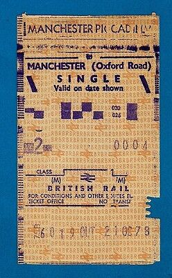 Handiprinter Ticket - BR(M) 2nd Single: Manchester Piccadilly to Oxford Rd: 1978