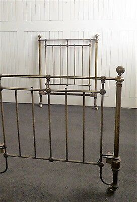 Antique vintage single brass bed ends - head and foot board