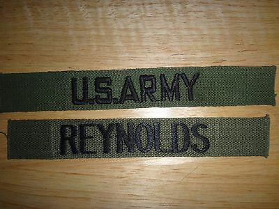 2 Never Used US Army Pocket Patches: U.S. ARMY + REYNOLDS Name Tape