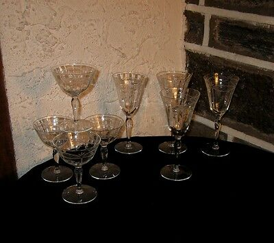 """Vintage """"MCBRIDE"""" STEM LOT OF 8 IN 2 SIZES Wines and champagne super"""