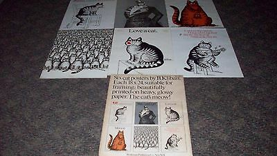 B. Kliban 6 Vintage Cat Posters Complete Set With Original Envelope 1977