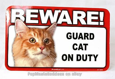"BEWARE Guard Cat on Duty sign 8 x 4.75"" Funny pet gift orange tabby Christmas"