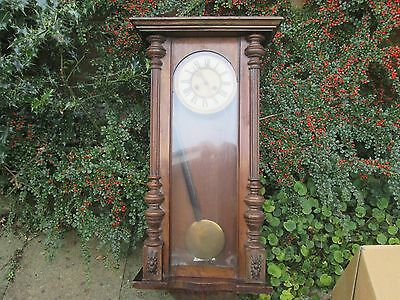 Antique Wall Clock in Wooden Glass Panelled Case with Pendulum mechanism