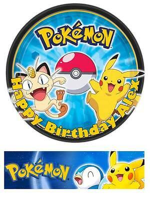 Pokemon Personalized Edible Cake toppers 7 Inch or cupcakes Precut FREE BANNER