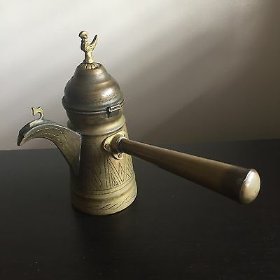 Antique Copper Dallah Turkish Islamic Coffee Pot Etched Art Bird Finial Nr #2