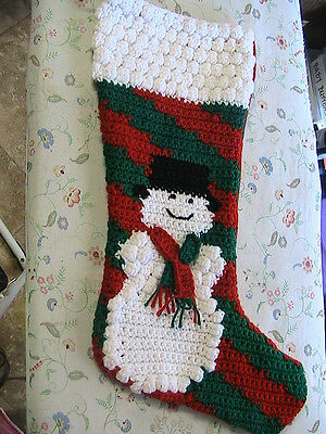 SNOWMAN 3D STOCKING hand-made Christmas Holiday crochet by me~RARE PATTERNS