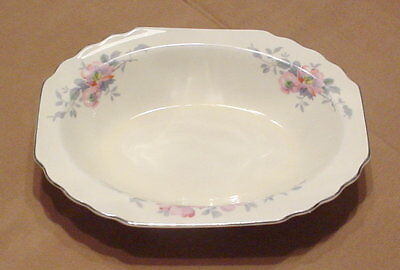 """W S George Lido Canarytone Blossoms 9"""" Oval Vegetable Serving Bowl Platinum"""
