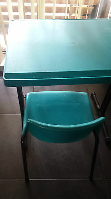 Small sturdy study desk with under storage and matching chair suits primary age