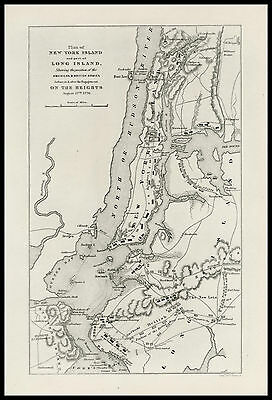 (1776) Map of New York and part of Long Island 1870 antique engraved print