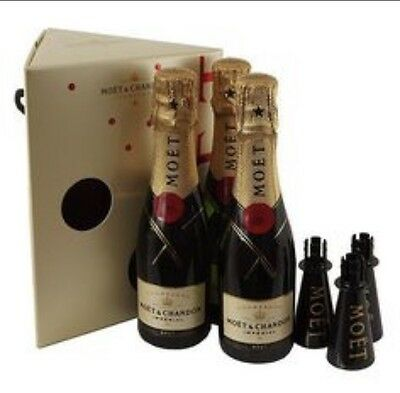 GENUINE MOET & CHANDON BLACK Champagne 4 SIPPER FOR MINI BOTTLE Weddings Xmas