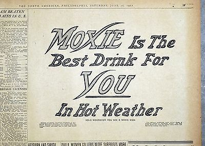 1911 Philadelphia Newspaper Ad - Moxie It's The Best Drink for You