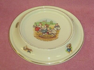 Vintage Royal Baby Plate Round Ceramic Child's Dish Characters