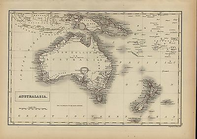 Australia huge hooked Lake Torrens 1844 A & C Black Sidney Hall fine antique map
