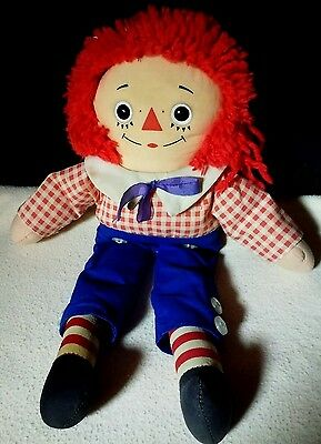 "Vintage Raggedy Andy cloth Boy Doll 12"" Knickerbocker Toy Company Taiwan"