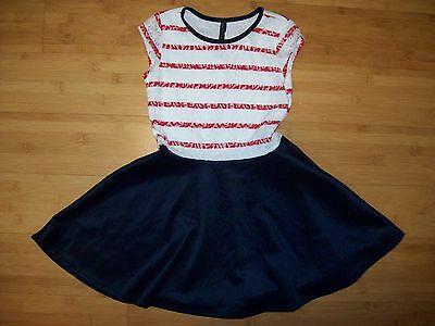 NWT Boutique Girls Size 7 - 8 Red & White & Nave Lace Dress NEW