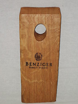 """Benzinger Family Winery Wood Wine Advertising Plaque 10""""x 4"""" Sign #1054"""