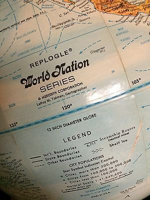 "Vintage Replogle ""World Nation Series"" Globe, 12"" Raised Terrain Dual Axis USSR"