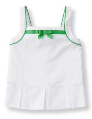 Janie And Jack NWT 6-12M Girl White Swiss Dot Green Bow Button Back Tank Top