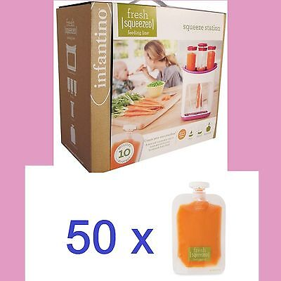 Infantino BUNDLE Squeeze Station + EXTRA 50-Pack Pouches baby food kids puree