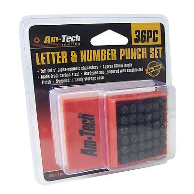 36pc 6mm number letter punch set box stamp metal steel tool stamping wood