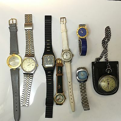 Lot of 8- Mens-women's Jewelry Watches Vintage For Parts/repair  (DD)as Is