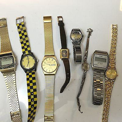 Lot of 8- Mens-women's Jewelry Watches Vintage For Parts/repair  (FFF)as Is