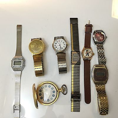 Lot of 8- Mens-women's Jewelry Watches Vintage For Parts/repair  (DDD)as Is