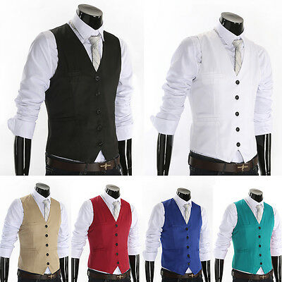 Hot Men's Formal Business Suit Vest Slim Dress Casual Waistcoat Jacket Coat