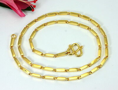 """THAI CLASSIC BAR LINK BAHT CHAIN 18"""" 20"""" 23"""" 25"""" 2.5mm 24K Gold GP Necklace GT18"""