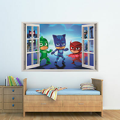 Personalised Kids 3D Window Poster PJ Masks Bedroom art