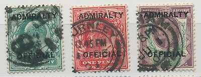 GB Edward VII Admiralty Official Set of 3 used incl SG O103