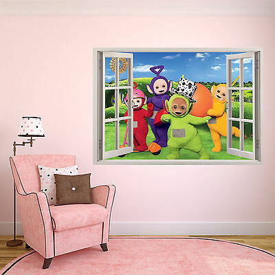 Personalised Kids 3D Window Poster Teletubbies Bedroom art