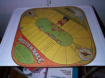 VINTAGE 1920'S WOLVERINE MOTOR RACE GAME WITH TIN BOARD and THREE CARS