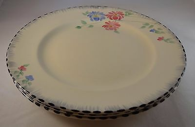 """Three Burleigh Ware 10"""" Blue Pink Floral Asters  Art Deco Dinner Plates VGC"""