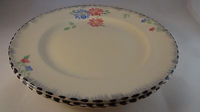 """Three Burleigh Ware 10"""" Pink Blue Floral Asters Art Deco Dinner Plates VGC"""