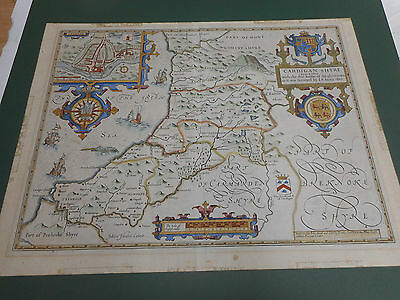 100% Original Large Cardiganshire  Map By John Speed C1710 Edition