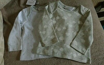 M&Co BABY GIRLS PACK OF TWO LONG SLEEVE TOPS.STARS & CLOUDS. AGE 3-6 MONTHS.NEW