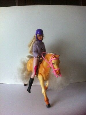 Barbie Doll In Riding Suit And Tawny Galloping Horse Gallops/ Neigh's