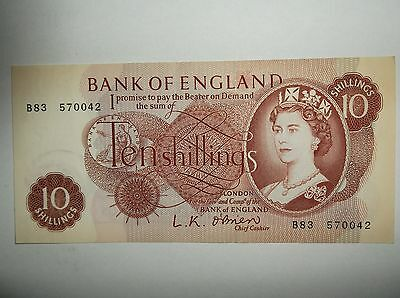 UK 10 shilling Note LK O'Brien 4 of 8 notes in connecting series