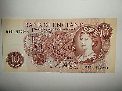 UK 10 shilling Note LK O'Brien 6 of 8 notes in connecting series