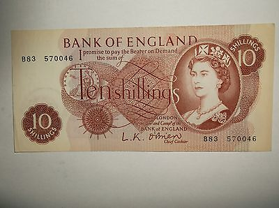 UK 10 shilling Note LK O'Brien 8 of 8 notes in connecting series