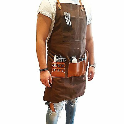 BARBER PRO Barber Apron Chocolate Brown hand made from the finest materials